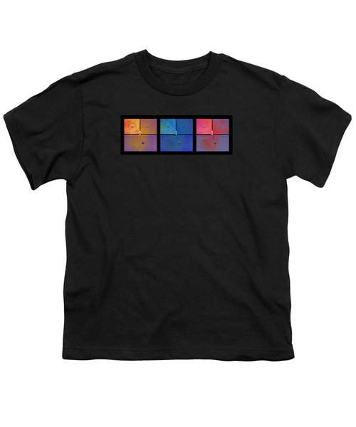 Triptych Gold Blue Magenta - Colorful Rust Youth T-Shirt