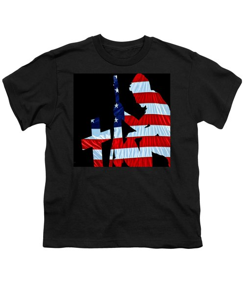 A Time To Remember United States Flag With Kneeling Soldier Silhouette Youth T-Shirt