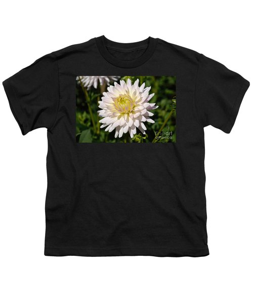 White Dahlia Flower Youth T-Shirt