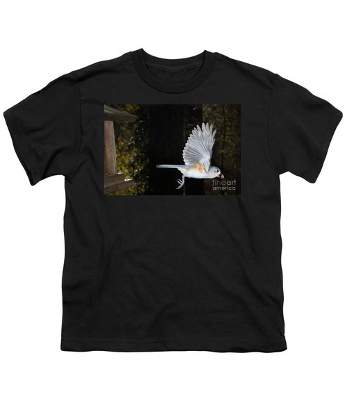Tufted Titmouse In Flight Youth T-Shirt