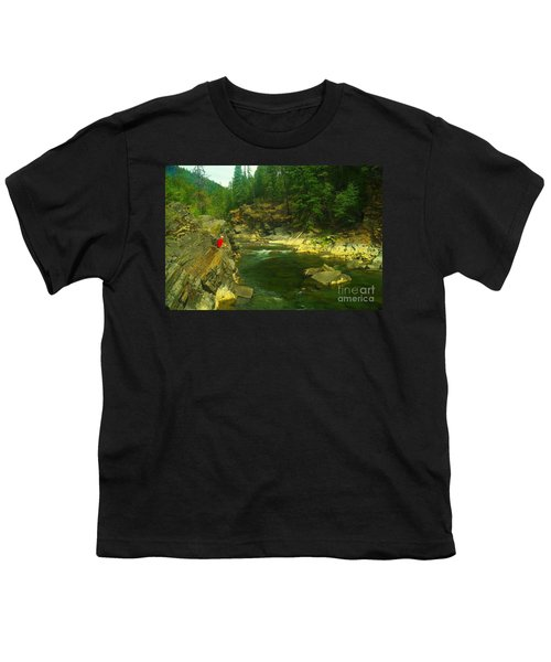 Cliff Over The Yak River Youth T-Shirt by Jeff Swan