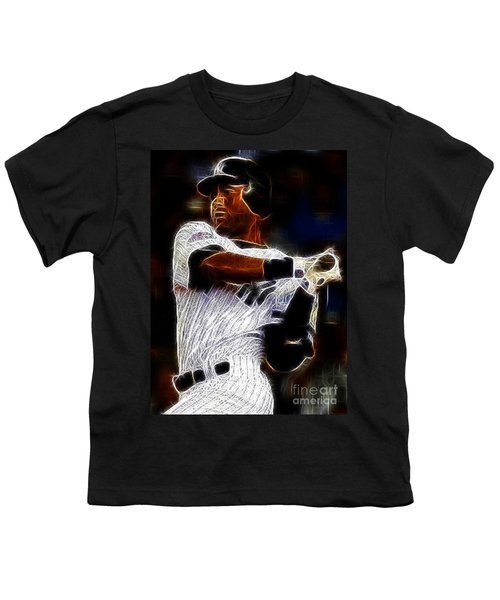 Derek Jeter New York Yankee Youth T-Shirt by Paul Ward