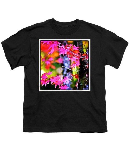 Fuchsia And Orange Maple Leaves Youth T-Shirt