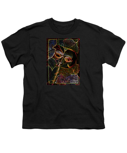 Youth T-Shirt featuring the relief Glowing Mask With Leaves by Nareeta Martin