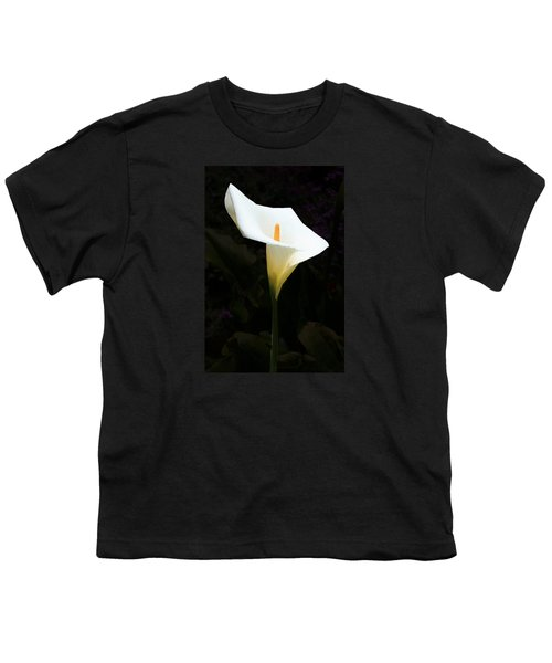 Lily On Black Youth T-Shirt by Nareeta Martin