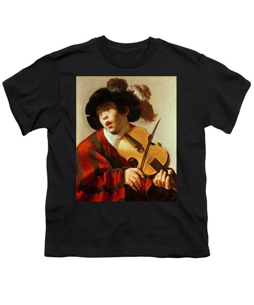 Boy Playing Stringed Instrument And Singing Youth T-Shirt
