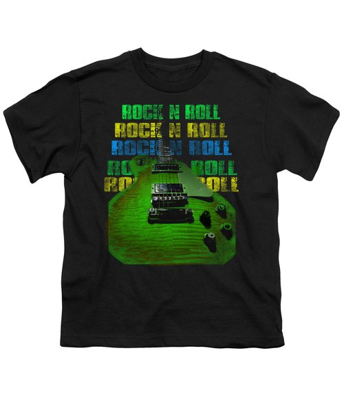 Youth T-Shirt featuring the photograph Colorful Music Rock N Roll Guitar Retro Distressed  by Guitar Wacky