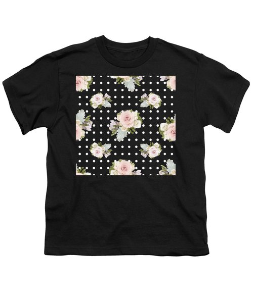 Floral Rose Cluster W Dot Bedding Home Decor Art Youth T-Shirt