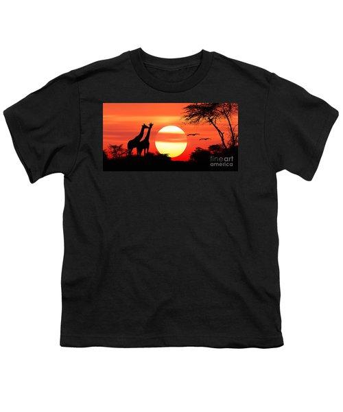 Giraffes At Sunset Youth T-Shirt