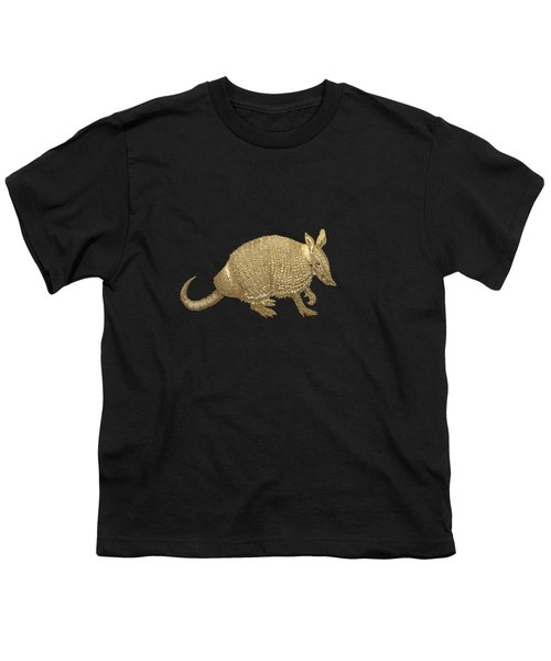 Gold Armadillo On Black Canvas Youth T-Shirt