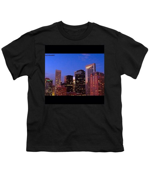 #houston #skyline At Dusk. #night Youth T-Shirt by Austin Tuxedo Cat