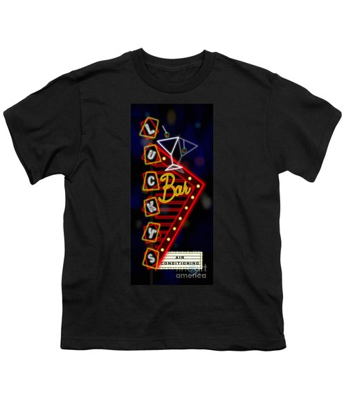 Nightclub Sign Luckys Bar Youth T-Shirt