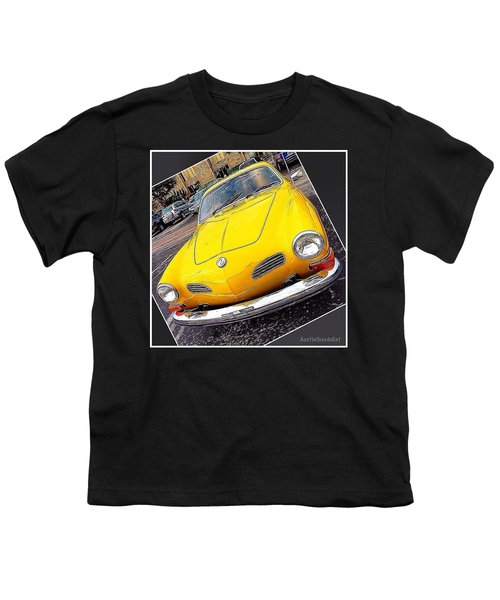 Photoshopping The #yellow #karminnghia Youth T-Shirt by Austin Tuxedo Cat
