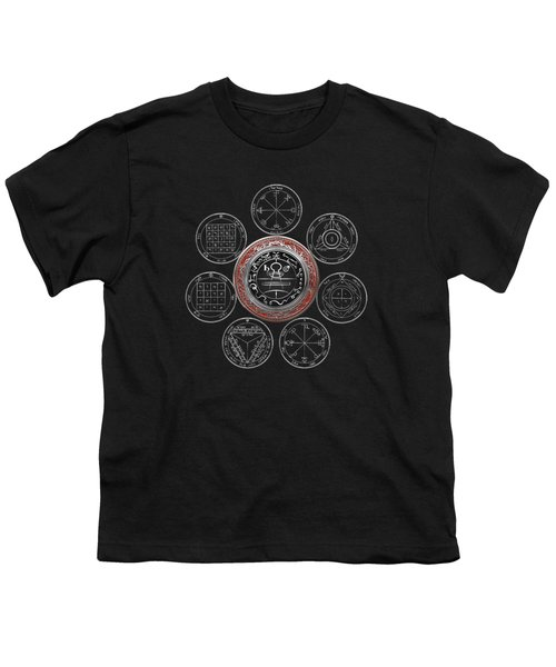 Silver Seal Of Solomon Over Seven Pentacles Of Saturn On Black Canvas  Youth T-Shirt
