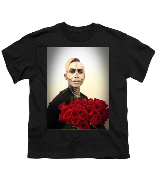 Skull Tux And Roses Youth T-Shirt by Kent Chua