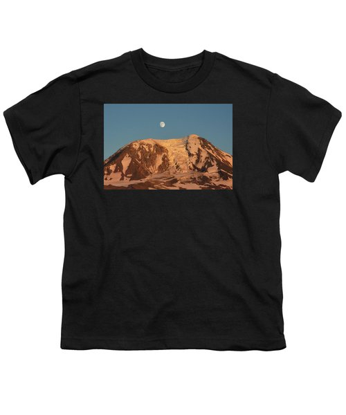 Sunset And Moonrise At Mt Adams Youth T-Shirt