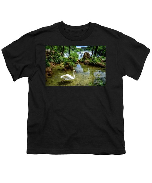 Swan In The Waterfalls Of Skradinski Buk At Krka National Park In Croatia Youth T-Shirt
