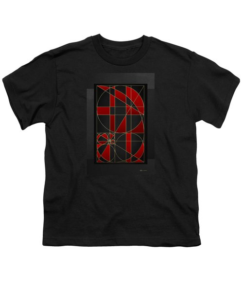The Alchemy - Divine Proportions - Red On Black Youth T-Shirt by Serge Averbukh
