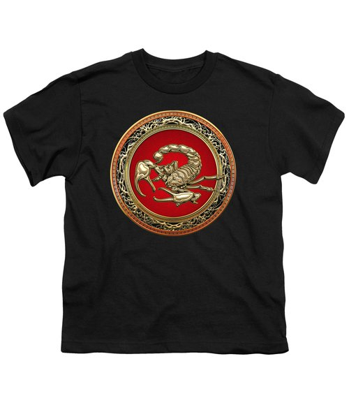 Treasure Trove - Sacred Golden Scorpion On Black Youth T-Shirt by Serge Averbukh