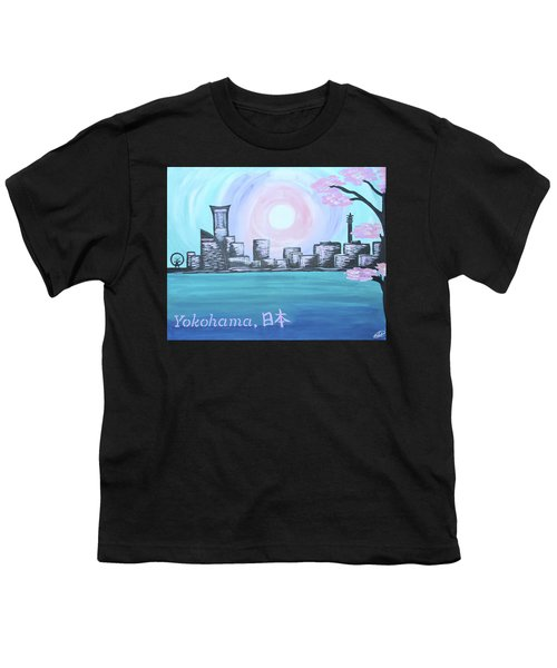 Yokohama Skyline Youth T-Shirt by Cyrionna The Cyerial Artist