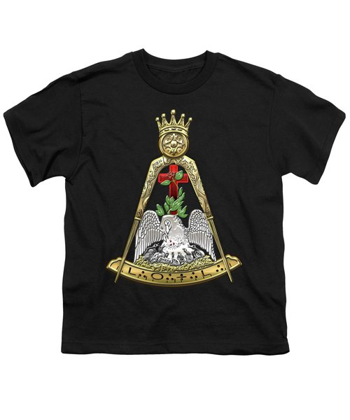 18th Degree Mason - Knight Rose Croix Masonic Jewel  Youth T-Shirt by Serge Averbukh