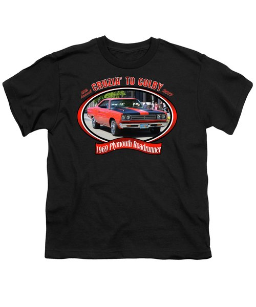 1969 Plymouth Roadrunner Masanda Youth T-Shirt by Mobile Event Photo Car Show Photography