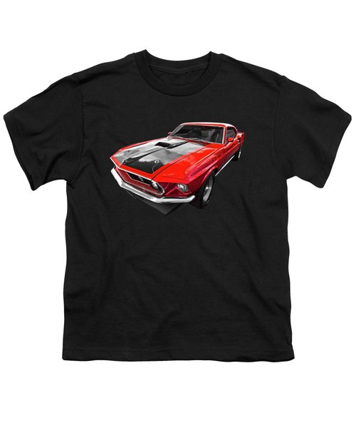 1969 Red 428 Mach 1 Cobra Jet Mustang Youth T-Shirt