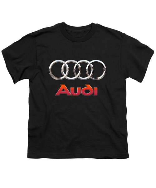 Audi - 3 D Badge On Black Youth T-Shirt by Serge Averbukh