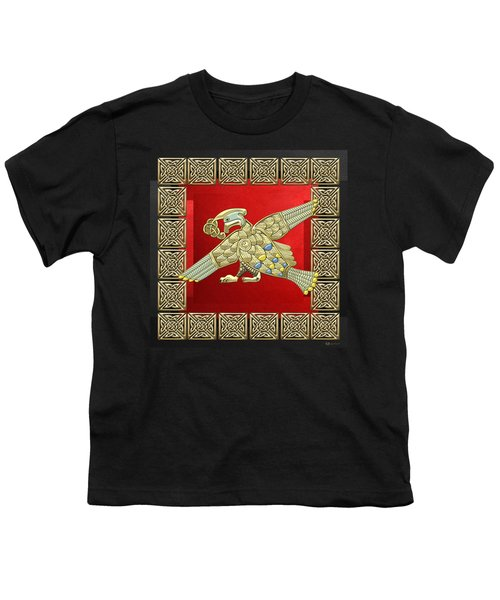 Sacred Celtic Bird On Red And Black Youth T-Shirt