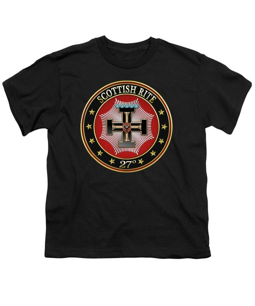 27th Degree - Knight Of The Sun Or Prince Adept Jewel On Black Leather Youth T-Shirt