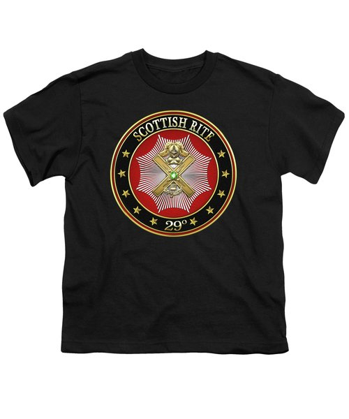 29th Degree - Scottish Knight Of Saint Andrew Jewel On Black Leather Youth T-Shirt