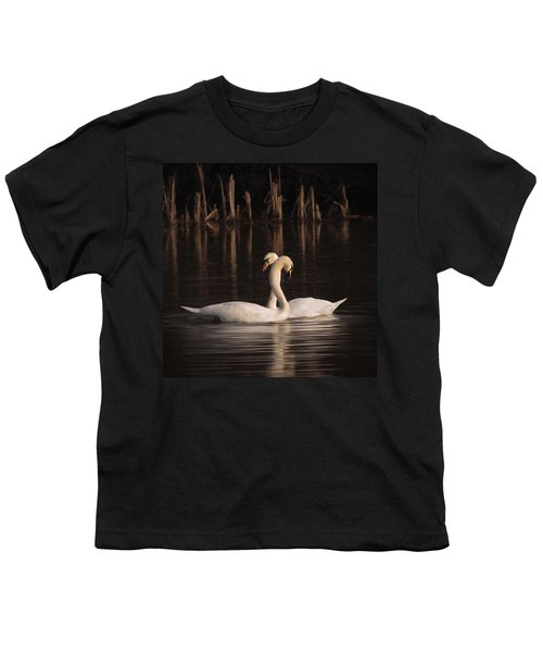 A Painting Of A Pair Of Mute Swans Youth T-Shirt