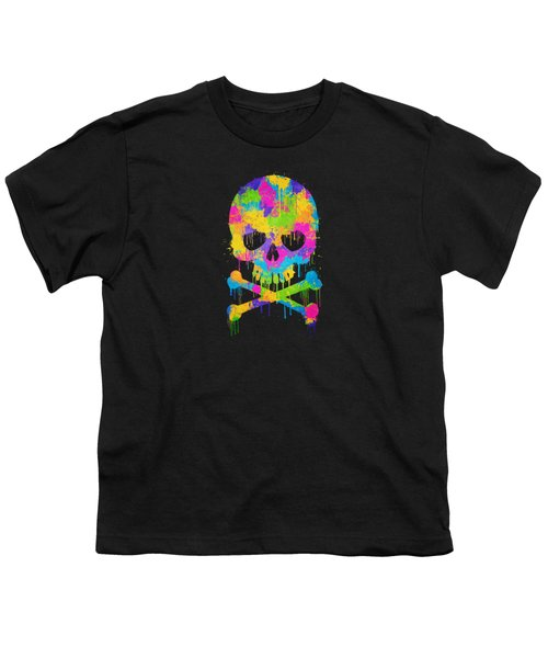 Abstract Trendy Graffiti Watercolor Skull  Youth T-Shirt