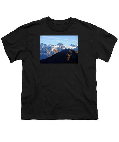 Airplane In Front Of The Alps Youth T-Shirt
