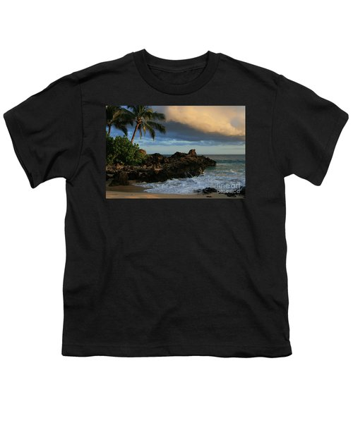 Aloha Naau Sunset Paako Beach Honuaula Makena Maui Hawaii Youth T-Shirt by Sharon Mau