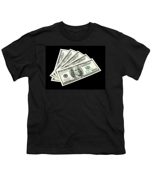 American Money On Black Background Youth T-Shirt