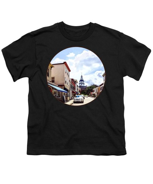 Annapolis Md - Shops On Maryland Avenue And Maryland State House Youth T-Shirt