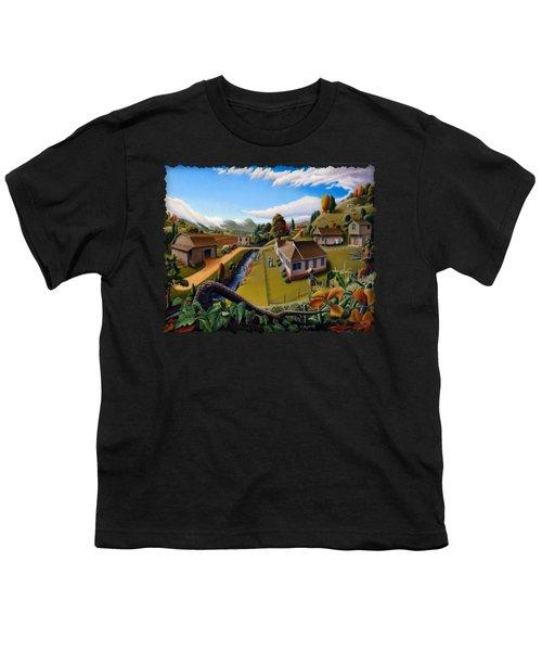 Appalachia Summer Farming Landscape - Appalachian Country Farm Life Scene - Rural Americana Youth T-Shirt