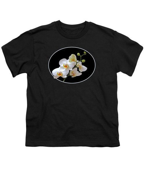 White Orchids On Black Youth T-Shirt by Gill Billington