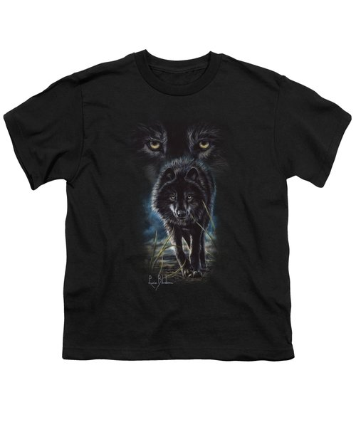 Black Wolf Hunting Youth T-Shirt by Lucie Bilodeau