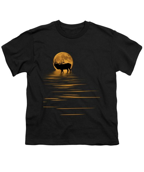 Elk In The Moonlight Youth T-Shirt by Shane Bechler