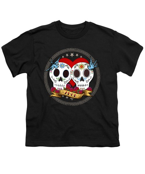 Love Skulls II Youth T-Shirt by Tammy Wetzel