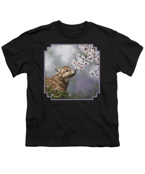 Wolf Pup - Baby Blossoms Youth T-Shirt by Crista Forest