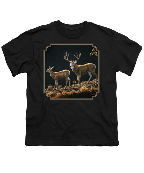 Mule Deer Ridge Youth T-Shirt by Crista Forest