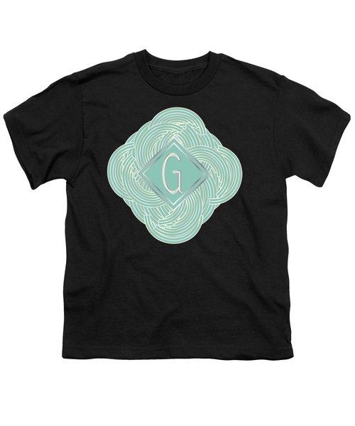 1920s Blue Deco Jazz Swing Monogram ...letter G Youth T-Shirt