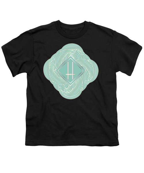 1920s Blue Deco Jazz Swing Monogram ...letter H Youth T-Shirt by Cecely Bloom