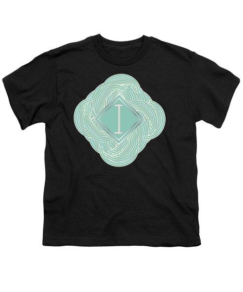 1920s Blue Deco Jazz Swing Monogram ...letter I Youth T-Shirt