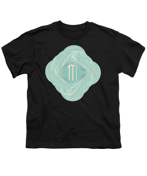 1920s Blue Deco Jazz Swing Monogram ...letter M Youth T-Shirt by Cecely Bloom