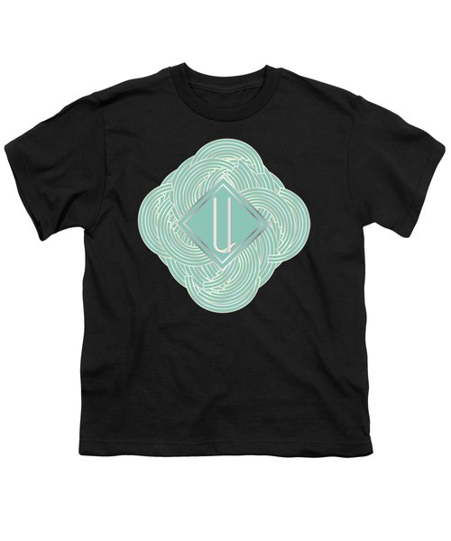 1920s Blue Deco Jazz Swing Monogram ...letter U Youth T-Shirt by Cecely Bloom