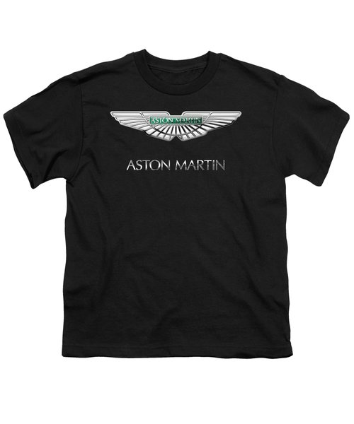 Aston Martin 3 D Badge On Black  Youth T-Shirt by Serge Averbukh